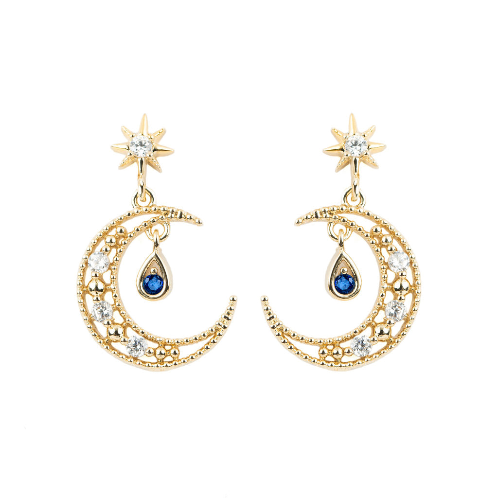 Blue Moon Earrings: Gold