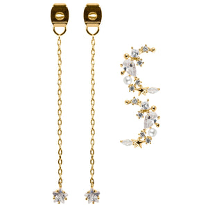Moonlight Dangle Earrings : Gold