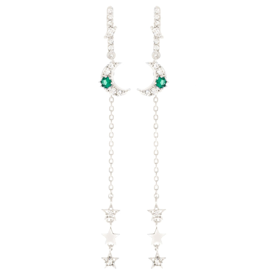 Emerald Moon & Star Dangle Earrings