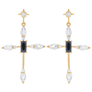 Bella Cross Earrings : Gold