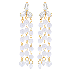 Clutch Your Pearls Dangle Earrings : Gold