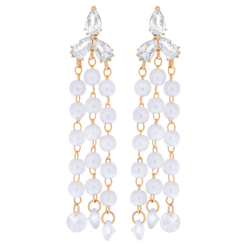 Clutch Your Pearls Dangle Earrings : Rose Gold