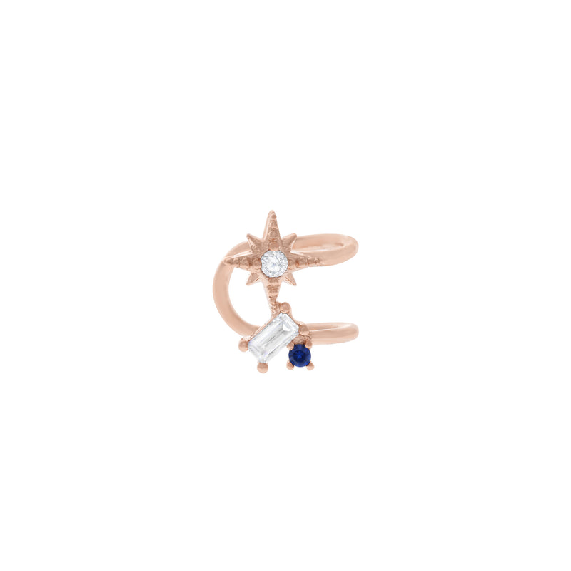 North Star Sapphire Ear Cuff : Rose Gold