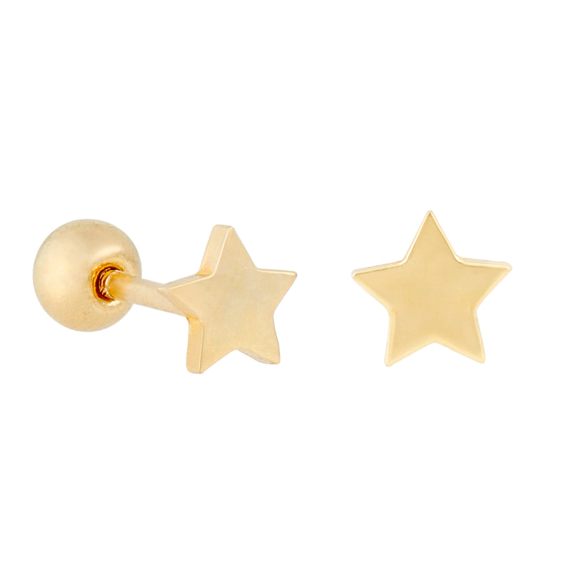 14k Fine Tiny Star Single Stud