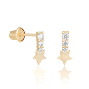 14k Fine Star Drop Stud Earrings