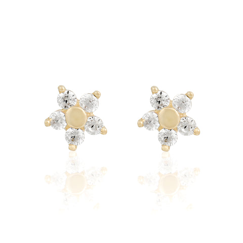 14k Fine Teeny Flower Earrings