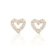 14k Fine Cutout Heart Stud Earrings