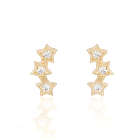 14k Fine Sky Shower Stud Earrings