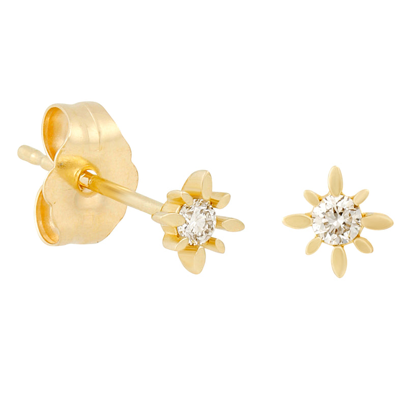 14k Fine Diamond Burst Stud Earrings