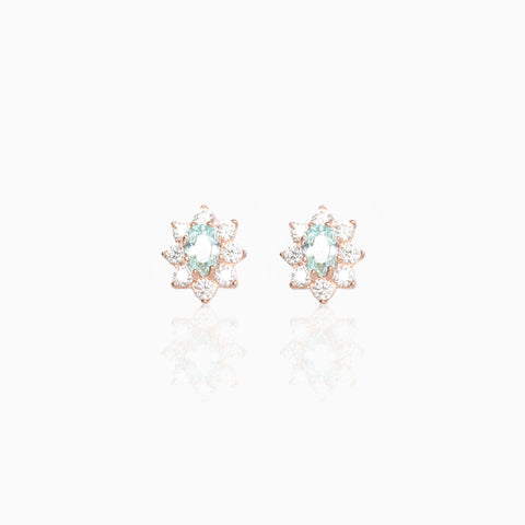 14k Fine Colorful Daisy Studs : Baby Blue
