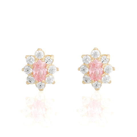 14k Fine Colorful Daisy Studs : Baby Pink