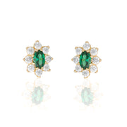 14k Fine Colorful Daisy Studs : Emerald