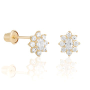 14k Fine Colorful Daisy Studs : White