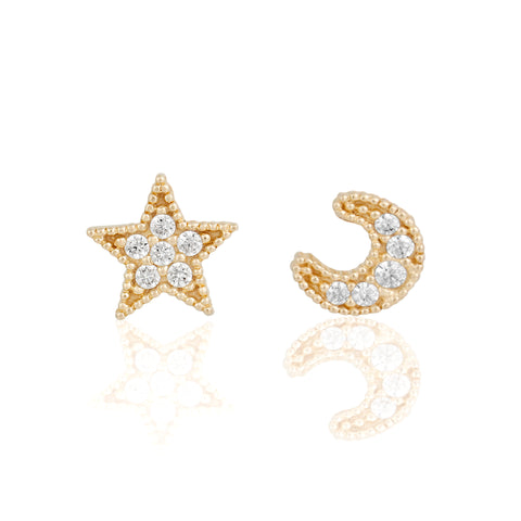 14k Fine My Moon and Stars Stud Earrings