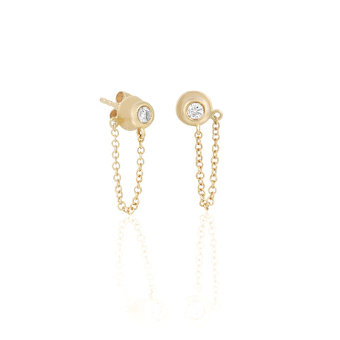 14k Fine Gem Chain Earrings