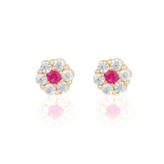 14k Fine Pink & Petals Stud Earrings