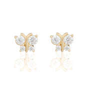 14k Fine Crystal Butterfly Stud Earrings