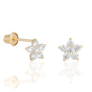 14k Fine Poinsettia Crystal Stud Earrings