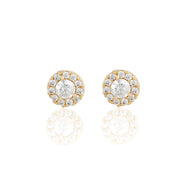 14k Fine Circle Cushion Stud Earrings