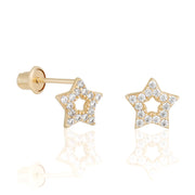 14k Fine Tiny Cutout Star Stud Earrings