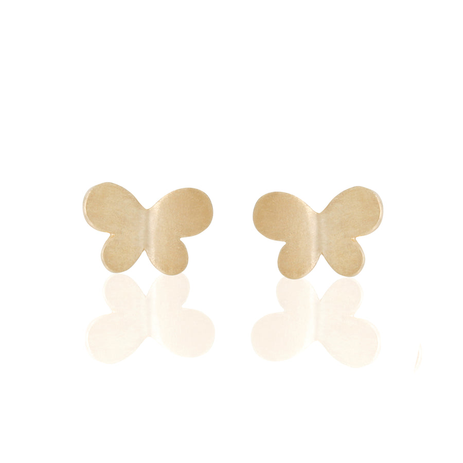 14k Fine Gold Butterfly Stud Earrings