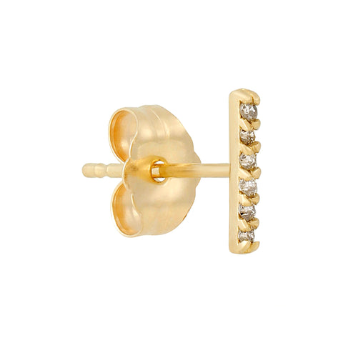 14k Fine Diamond Bar Stud Earrings