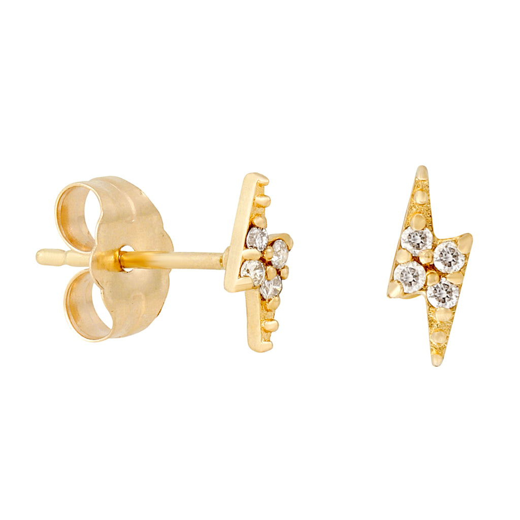 14k Fine Diamond Lightning Bolt Stud Earrings