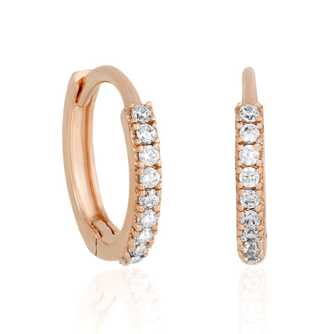 14k Fine Rose Gold Tiny Hoops
