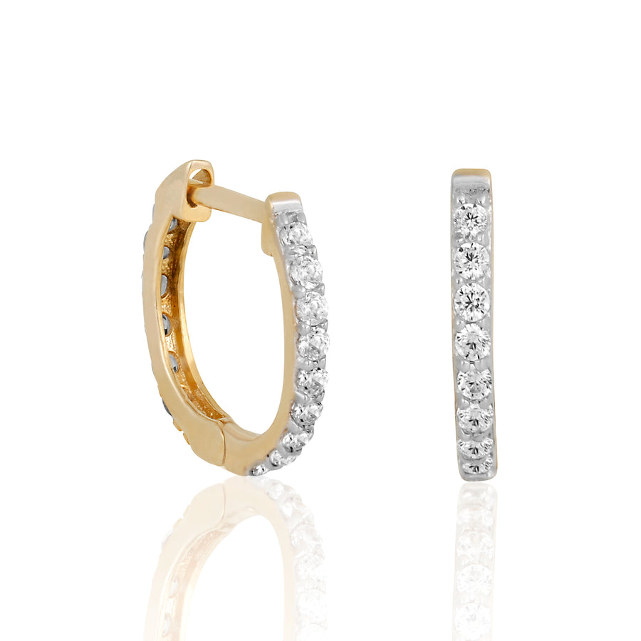 14k Fine 13mm Diamond Mini Hoops