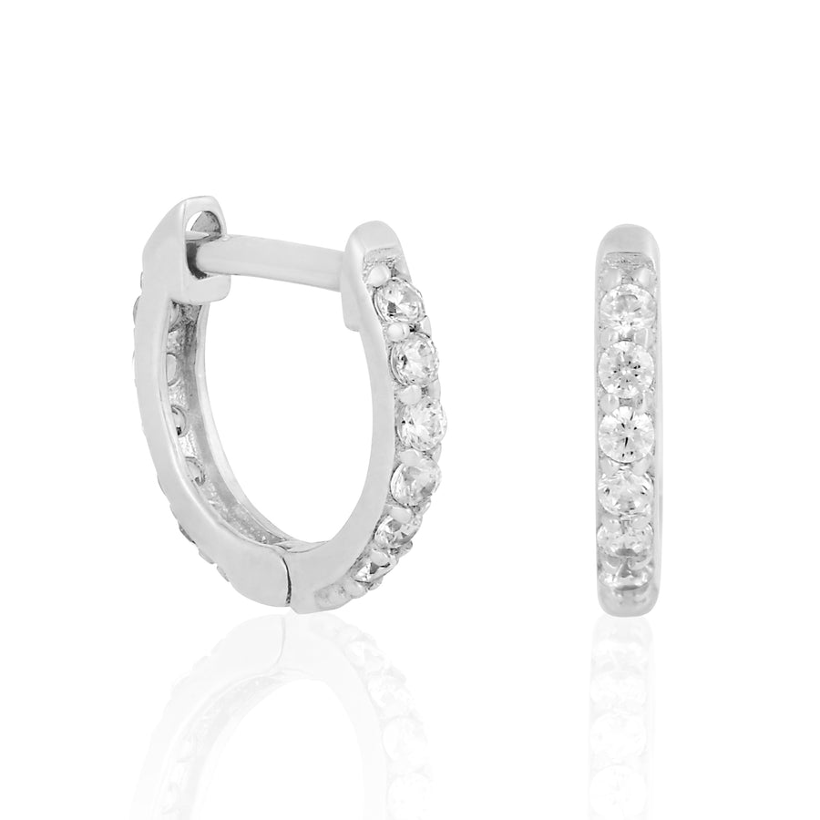 14k Fine 11mm Diamond Teeny Hoops