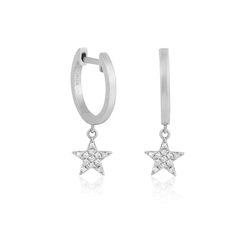 14k Fine Bright Star Mini Hoops