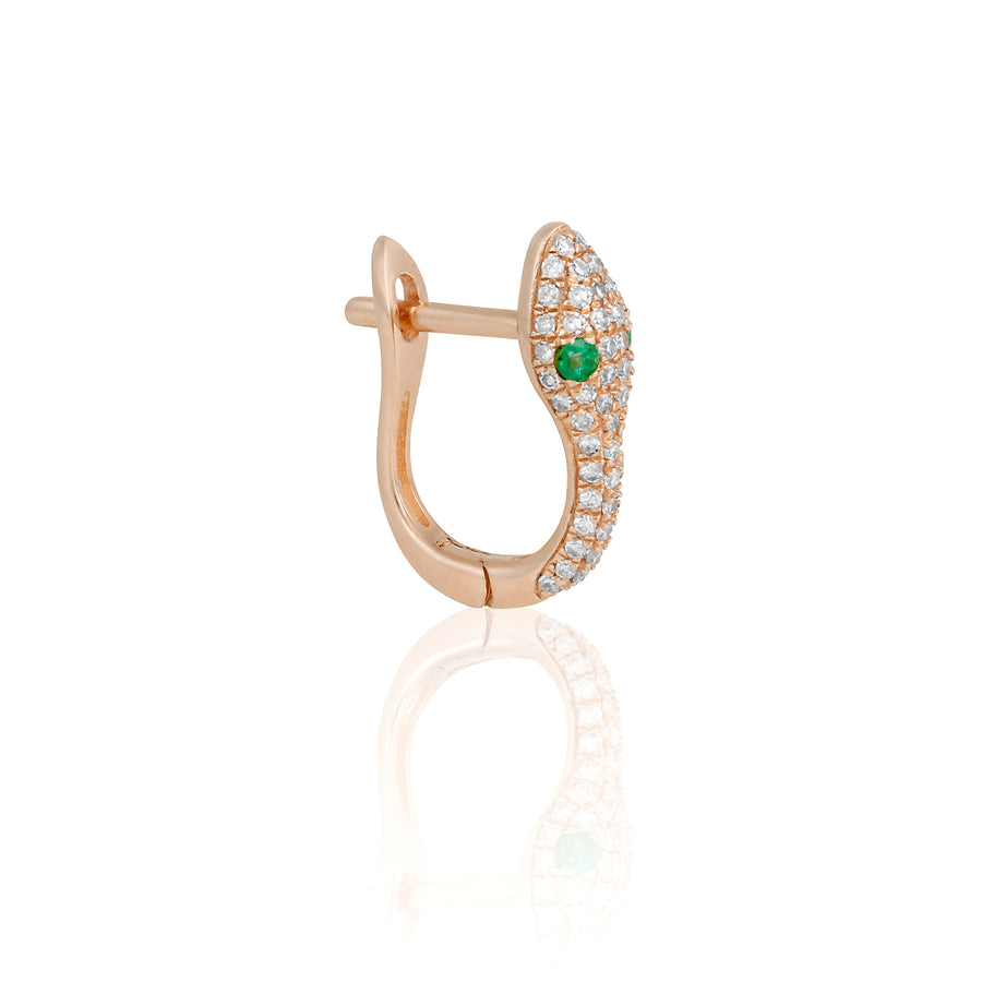 14k Fine Sneaky Emerald Mini Hoops