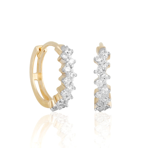 14k Fine Glitzy Mini Hoops