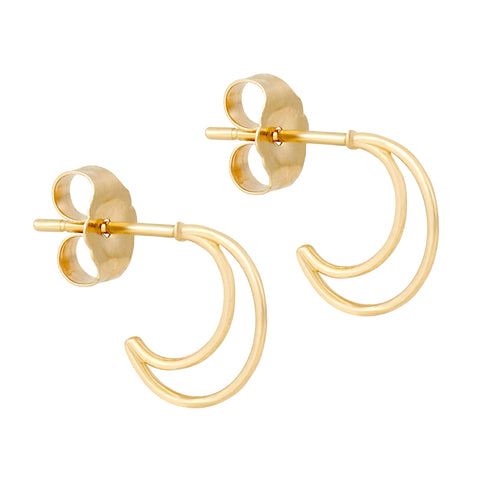 14k Fine Open Crescent Hoops