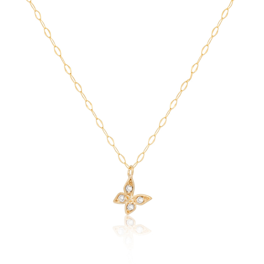 14k Fine Baby Butterfly Diamond Necklace