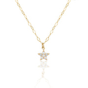 14k Fine Baby Star Diamond Necklace