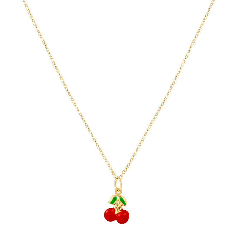 14k Fine Enamel Cherry Necklace