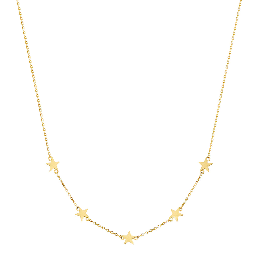 14k Fine 5 Star Necklace