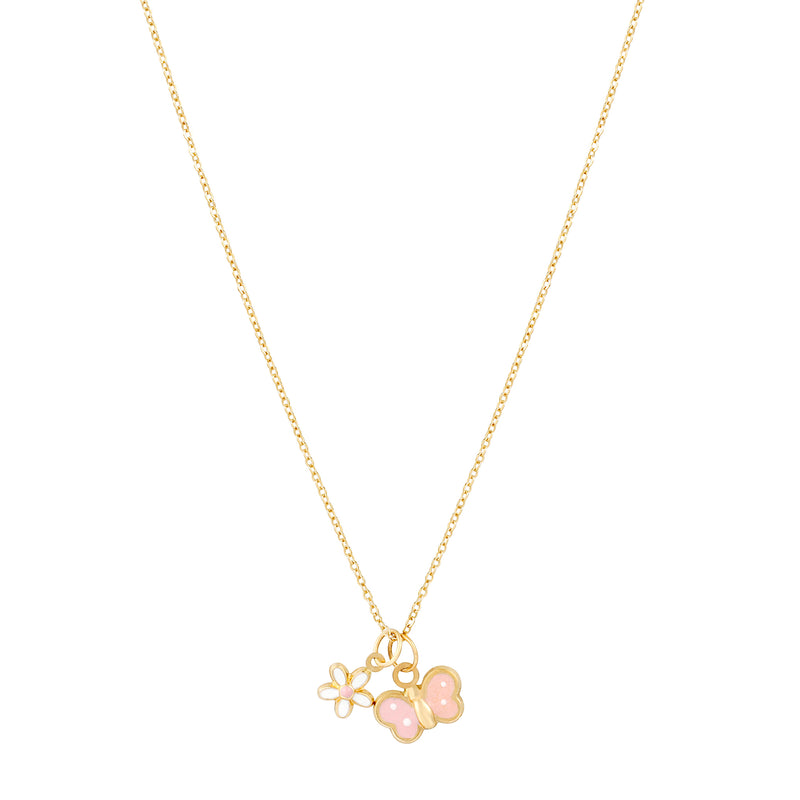 14k Fine Pink Butterfly Necklace