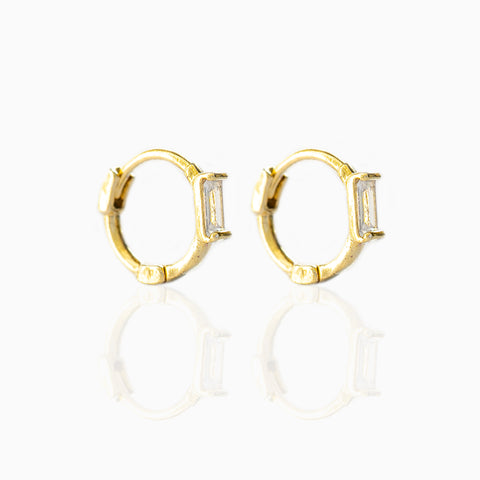 Crystal Baguette Hoops
