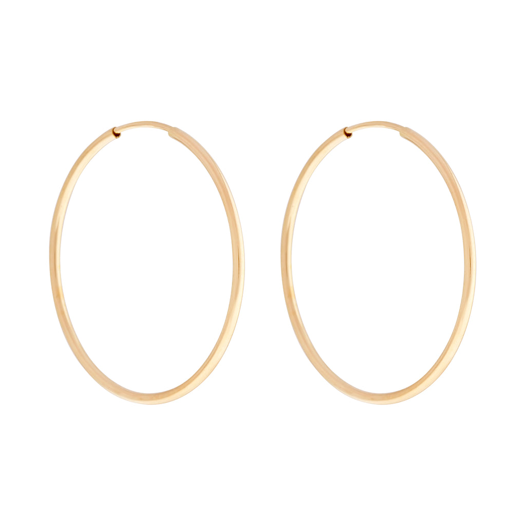 14k GF 40mm Endless Hoops : Gold
