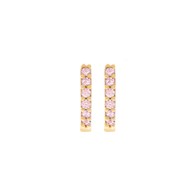 Baby Pink Cubic Mini Hoops : Gold