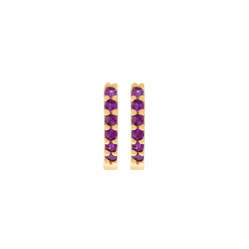 Ruby Cubic Mini Hoops : Gold
