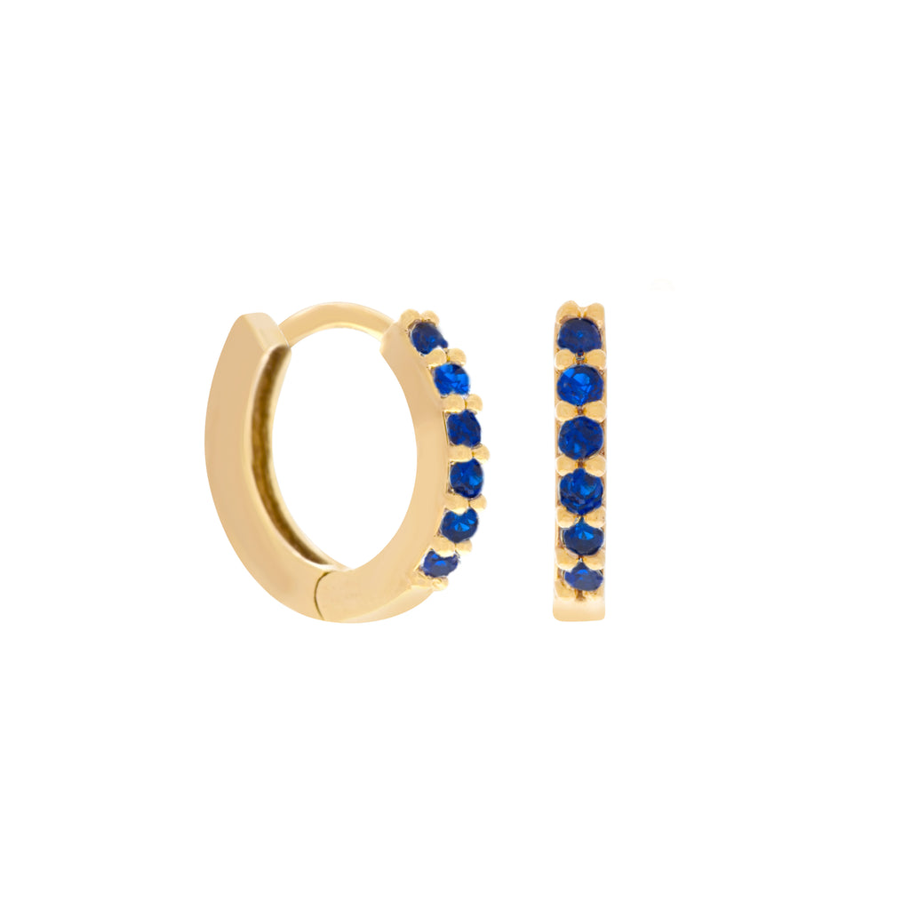 Sapphire Cubic Mini Hoops : Gold