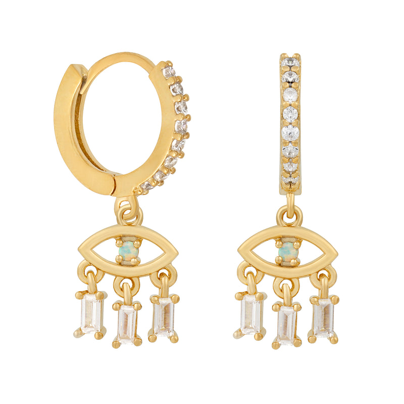 Opal Evil Eye Mini Hoops : Gold