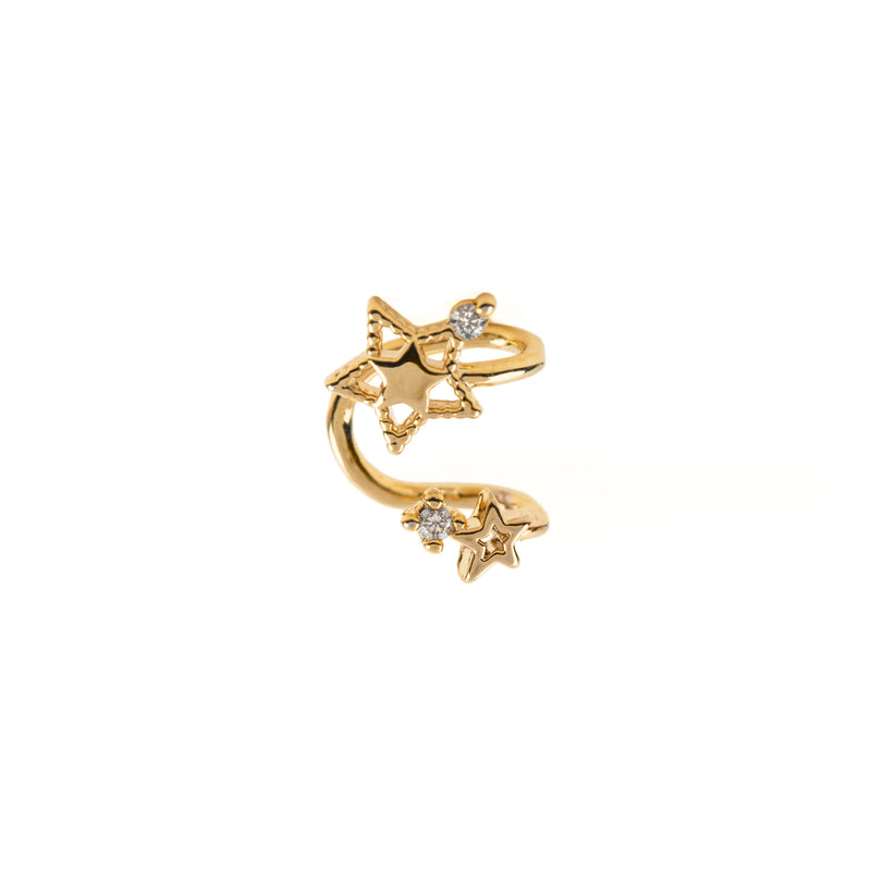 Double Star Ear Cuff: Gold