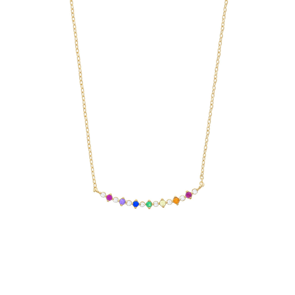 Bar Diamond Rainbow Necklace: Gold