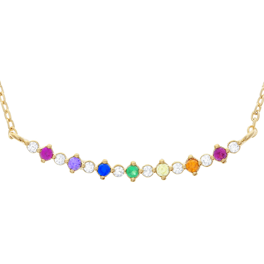 Bar Diamond Rainbow Necklace