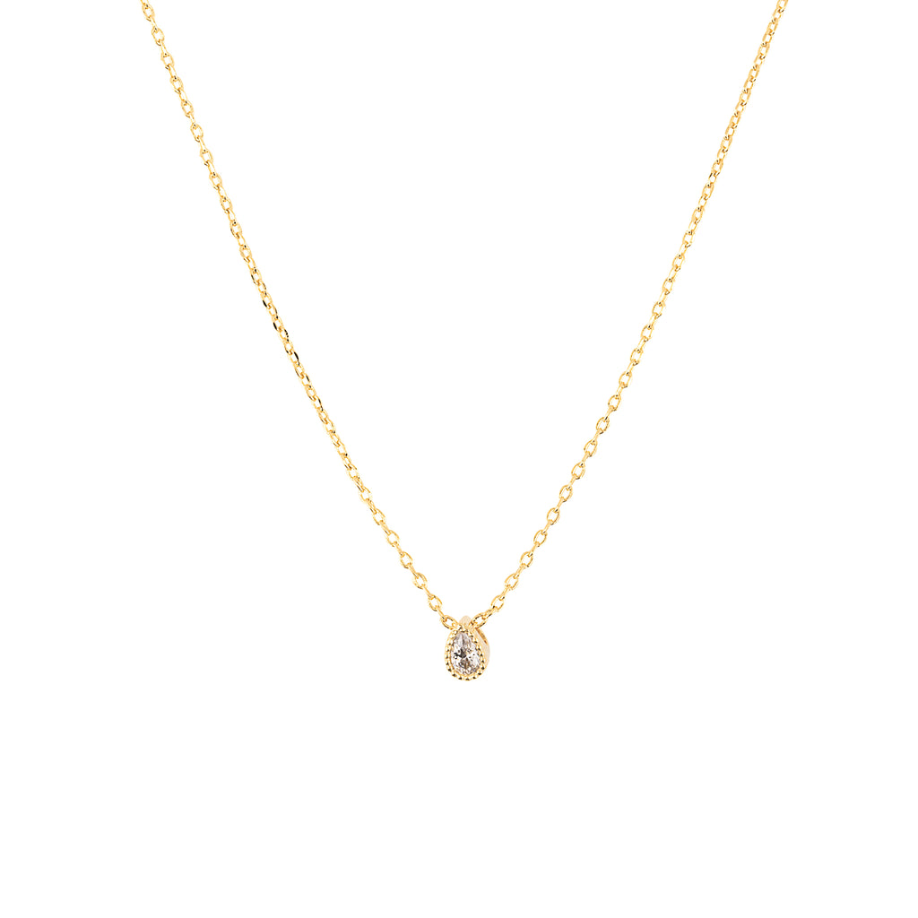 Clear Tiny Teardrop Necklace : Gold
