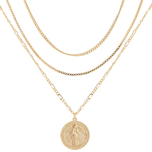 MC Medallion Layered Necklace : Gold